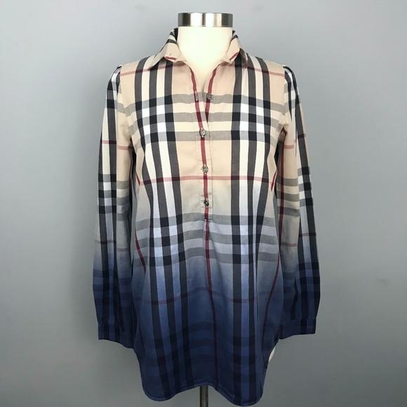 a14aa5ad8de Burberry Tops | Brit Nova Check Dip Dye Ombre Tunic Shirt | Poshmark